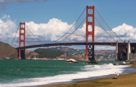 Golden Gate Bridge as seen from Baker Beach in San Francisco, USA. photo