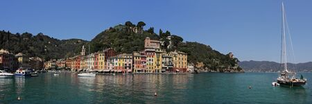 Panoramic view on bay and Portofino - small town on Ligurian Sea in Italy. photo