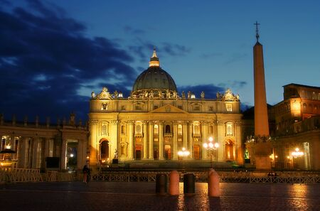 Famous Papal Basilica of Saint Peter (Basilica Papale di San Pietro in Vaticano) at evening in Vatican.
