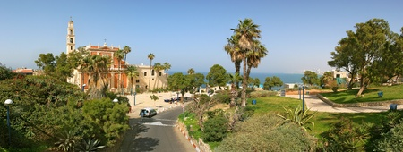 yaffo: Panoramic view on old catholic church in historic center of Yafo, Israel. Stock Photo