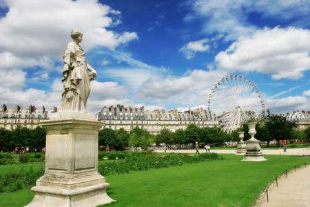 Sculptures in famous Tuileries Garden (Jardin des Tuileries) near Louvre museum in Paris, France Editorial