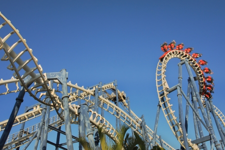 disneyland: Roller coaster loop in Luna Park, Tel Aviv. Stock Photo