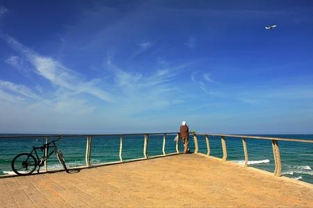 tel: View on Mediterranean sea from promenade in Tel Aviv, Israel.