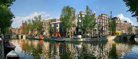 canal house: Panoramic cityscape view of Amsterdam, Netherlands.