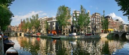 canal house: Vista panoramica paesaggio urbano di Amsterdam, Paesi Bassi.