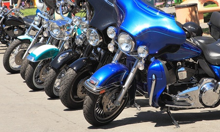 Heavy motorcycles on parking.