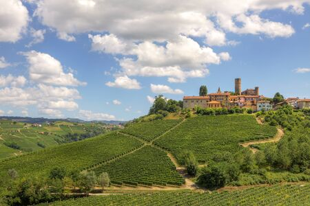 piedmont: View on vineyards and small town on the hill in Piedmont, northern Italy. Stock Photo