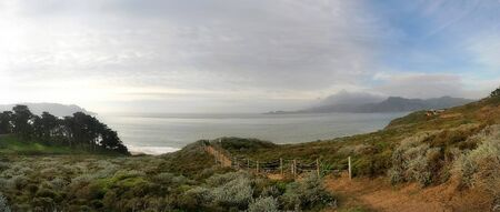 Panoramic view on Presidio of San Francisco park and pacific ocean in California, USA. photo