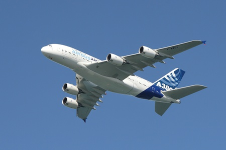 SAN FRANCISCO - OCTOBER 06: Bigest passenger aircraft Airbus A380 in the air during demonstration flight over Bay area before his first landing at San Francisco International Airport on October 06, 2007 in San Francisco, USA.