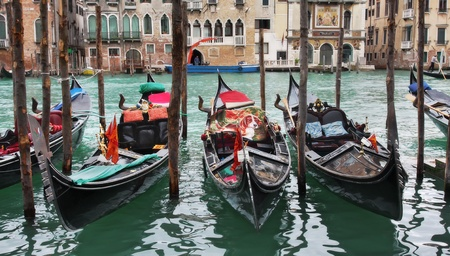 View on Grand Canal and gondolas in Venice, Italy. photo