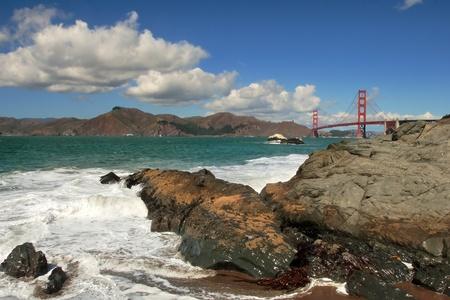 california coast: San Francisco Bay and Golden Gate Bridge. Stock Photo