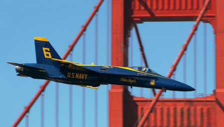 f18: SAN FRANCISCO, CA - OCT 6: US Marine Corps Blue Angels demonstration squadron on F18 Hornet jet fighters in the sky over San Francisco during sunday airshow on October 6, 2007. Editorial