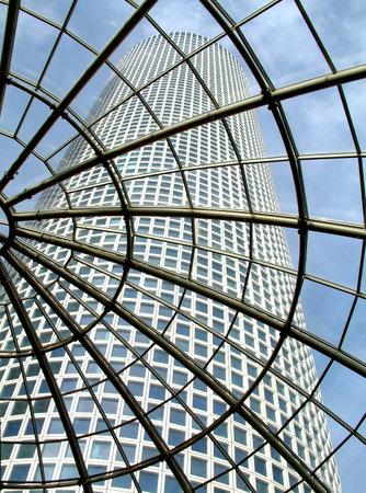 azrieli center: Modern glass roof in Azrieli shopping center with view on skyscraper in Tel Aviv, Israel. Editorial