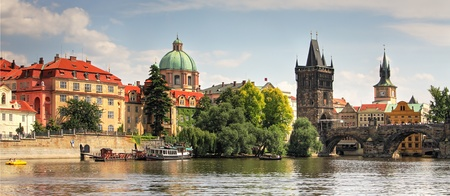 Panoramic view on old part of Prague. Stock Photo