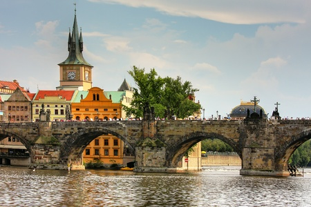 historic site: View on Charles Bridge and old part of Prague.