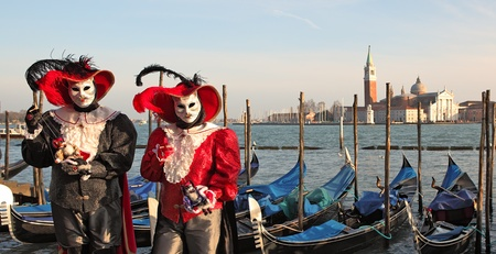 VENICE, ITALY - MARCH 04: Unidentified participants wear traditional mask and costume during famous Venetian Carnival on March 04, 2011 in Venice, Italy. Stock Photo - 11952263