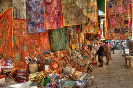 and israel: JERUSALEM, ISRAEL - APRIL 02: Famous market in old part of Jerusalem offering variety of middle east products and souvenirs to palmers and tourists during Easter celebrations April 02,2010 Jerusalem, Israel. Stock Photo