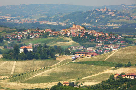 samll: View on samll town on the hills of Langhe in Piedmont, northern Italy.