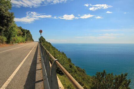 motorway: Highway in the mountains along Mediterranean Sea in Italy.