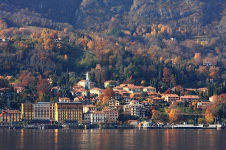 lake como: Village on Lake Como at fall time in northern Italy.