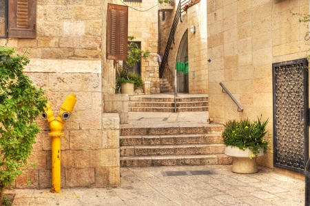 Old street of jewish quarter in historic part of Jerusalem, Israel. Stock Photo