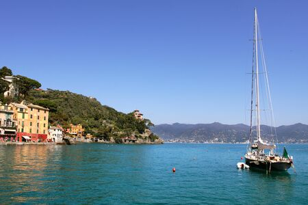 View on yacht at Portofino bay on Ligurian Sea in Italy. photo