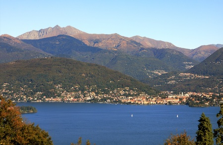maggiore: Aerial view on Lake Maggiore among hills and mountains of northern Italy.