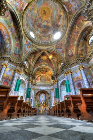 sant: Vertical oriented image of Sant Ambrogio church interior in Cuneo, Italy.