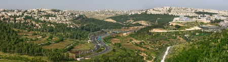 Panoramic aerial view on highway among the hills of Jerusalem, Israel. photo