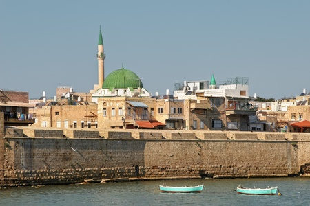 akko: View on ancient walls, houses and mosques in old town of Acre  Akko  in Israel  Stock Photo
