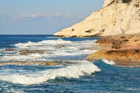 nature reserves of israel: Breaking waves, rocks and white chalk cliff at Rosh HaNikra reserve on Mediterranean sea in Israel
