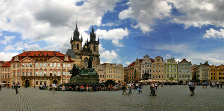 old town square: PRAGUE - JULY 2004: Panoramic view of Old Town Square (Stare Mesto or Staromestske namesti) in Prague, Czech Republic. Old Town Square is one of the most popular touristic sites in Prague. Editorial