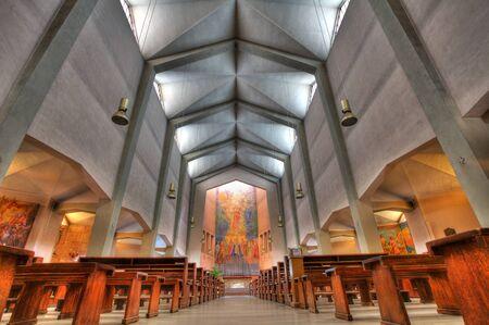 cristo: Interior view of Cristo Re church in Alba, Italy  Stock Photo