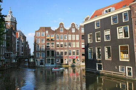 amstel river: View on canal and old houses in historic center of Amsterdam, Netherlands  Holland