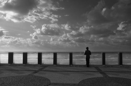 View on Mediterranean Sea from promenade in Tel Aviv, Israel  black   white   Stock Photo - 13082724
