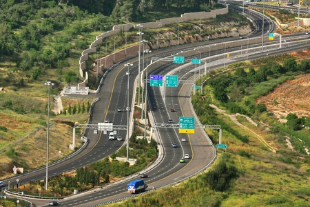 Aerial view on Highway among hills in Jerusalem, Israel  photo