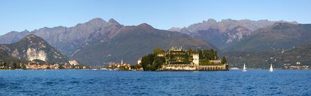 maggiore: Panoramic view on Isola Bella and House of Borromeo at Lake Maggiore in northern italy