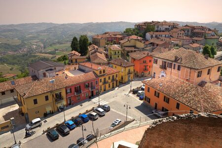 Aerial view on roofs and street of Diano DAlba - small town in Piedmont, northern Italy. photo