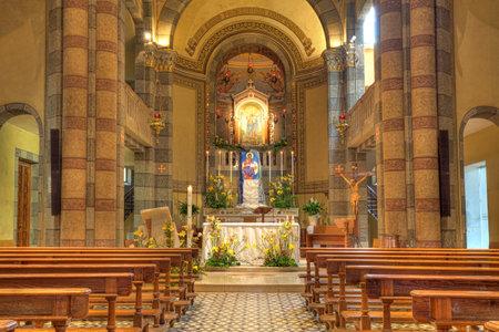 Madonna Moretta Catholic church interior view in Alba, Northern Italy  Editorial