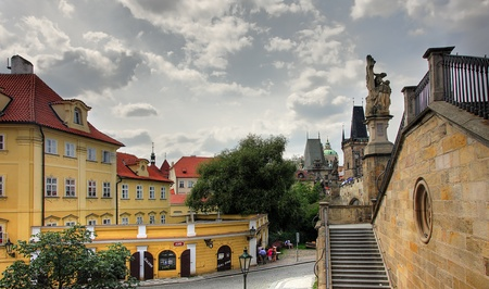 historic site: View on old Prague and Charles Bridge  Stock Photo