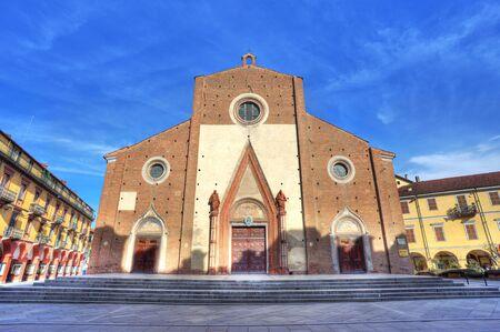 saluzzo: Facade view on Duomo di Saluzzo  Maria Vergine Assunta Church  in Saluzzo, Italy