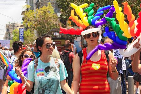 Tel Aviv, Israel - June 11, 2010: Annual Gay Pride Parade and Week of Proud celebrations on the streets June 11, 2010 in Tel Aviv, Israel. Stock Photo - 13365077