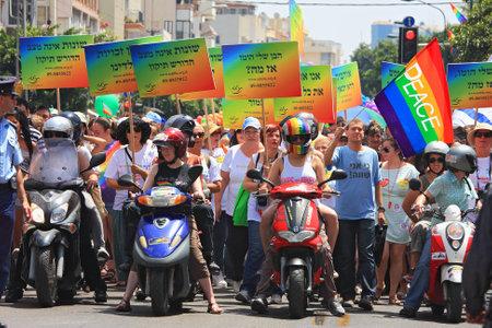 Tel Aviv, Israel - June 11, 2010: Annual Gay Pride Parade and Week of Proud celebrations on the streets June 11, 2010 in Tel Aviv, Israel. Stock Photo - 13365062