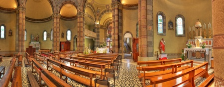 Panoramic interior view of catholic church of Madonna Moretta in Alba, Northern Italy