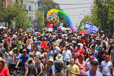 Tel Aviv, Israel - June 11: Annual Gay Pride Parade and Week of Proud celebrations on the streets June 11, 2010 in Tel Aviv, Israel. Stock Photo - 13575612