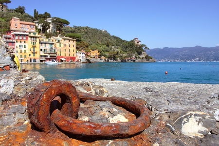 View on ancient harbor and small town of Portofino on Ligurian Sea in Italy  photo