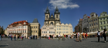 stare mesto: PRAGUE - JULY 2004: Panoramic view on famous Old Town Square (Stare Mesto or Staromestske namesti) and Tyn Church on July 2004 in Prague, Czech Republic.