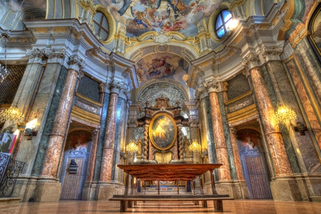 maria: Santa Maria Maddalena church interior in Alba, Italy