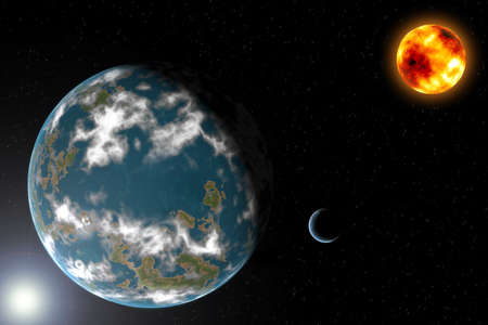 Earth type planet with moon and sun Stock Photo - 13817042