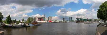 amstel: Panoramic view on Amstel river and Amsterdam, Netherlands  Holland